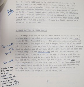 Mrs Thatcher's comments on a paper concerning a freeze on Civil Service manpower