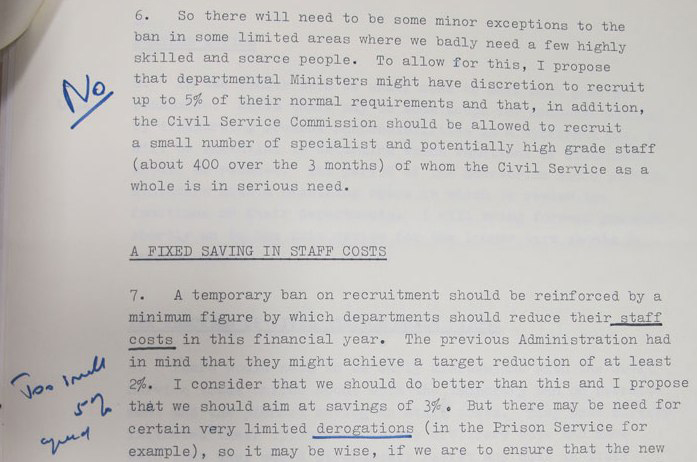Notes from Lady Thatcher's personal papers