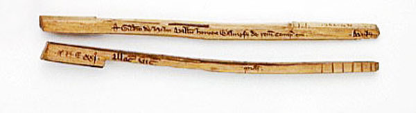 Wooden tally sticks used for recording payments