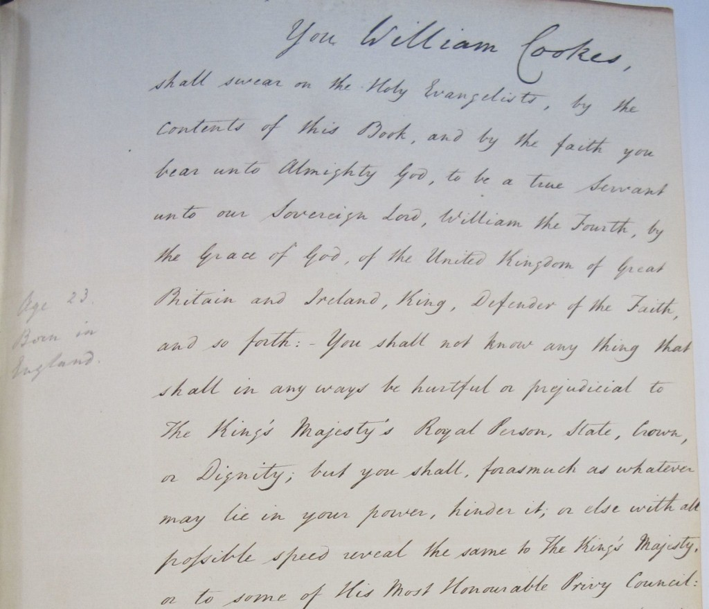 Oath sworn by William Cookes, The National Archives ref: FO 366/276