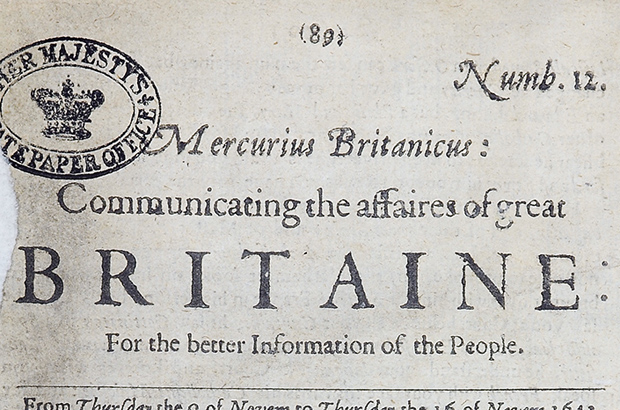 A copy of Mercurius Britanicus from Nov 1643 (The National Archives reference SP 9/245/19