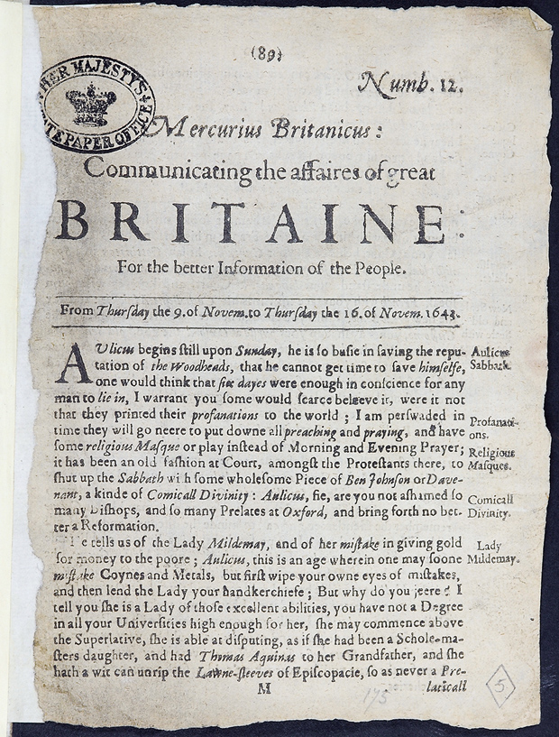 Page is headed: Mercurius Britanicus: Communicating the affaires of great Britaine for the better information of the people'.