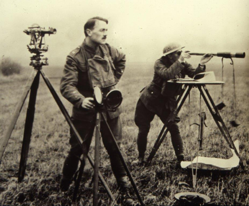 Surveyors on a First World War battlefield. (Image: © Crown copyright)