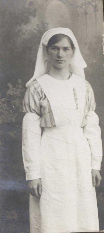 A photograph of a Volunteer Aid Detachment nurse, Daisy Lavender.