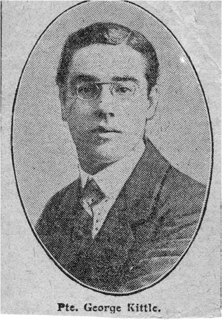 A photograph of Private George Kittle taken from the local newspaper, the Surrey Comet.