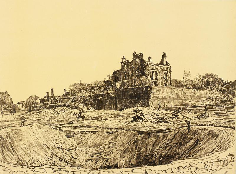 Lithograph of the Great Crater Athies. Lithograph shows crater in foreground and a destroyed building in the background. There is a solitary soldier on a horse by the Crater. Original produced, May 1917 in charcoal.