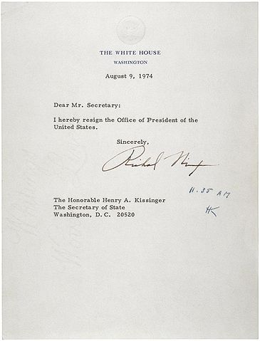 """Letter of Resignation of Richard M. Nixon, 1974"" by Former U.S. President Richard M. Nixon. It says: 'Dear Mr Secretary, I hereby resign the Officeof President of US.' Then it is signed."