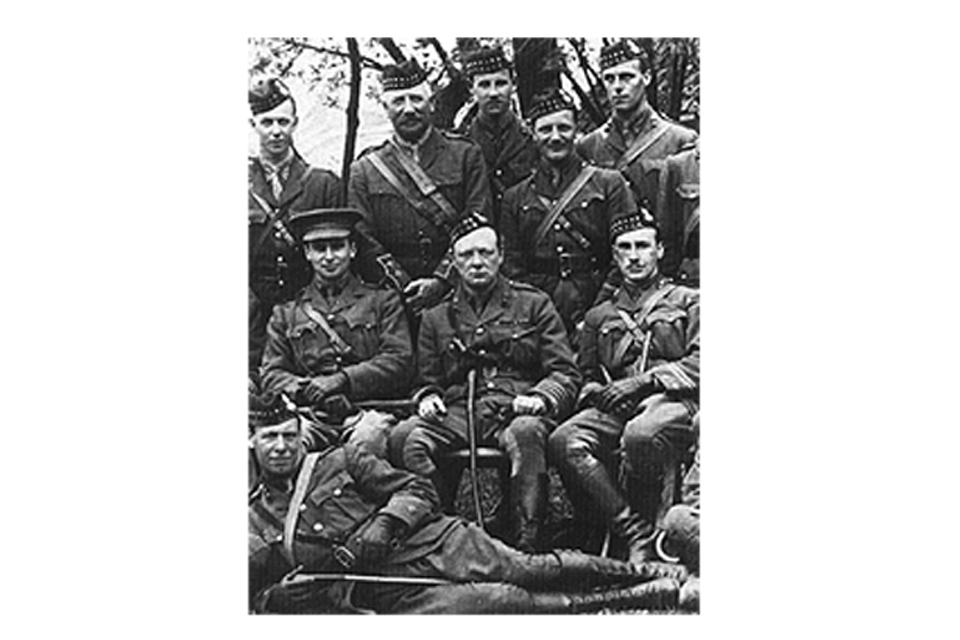 Winston Churchill in 1916 with the Royal Scots Fusiliers. A formally posed group photograph