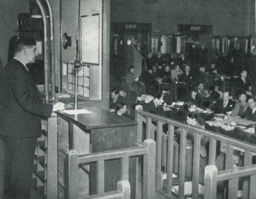 Black and white photograph of Ministry of Information Press Room