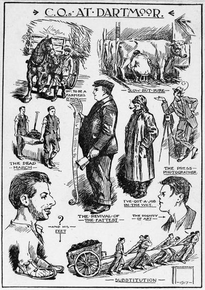 A cartoon showing the various ways in which Conscientious Objectors were involved in farm labour.