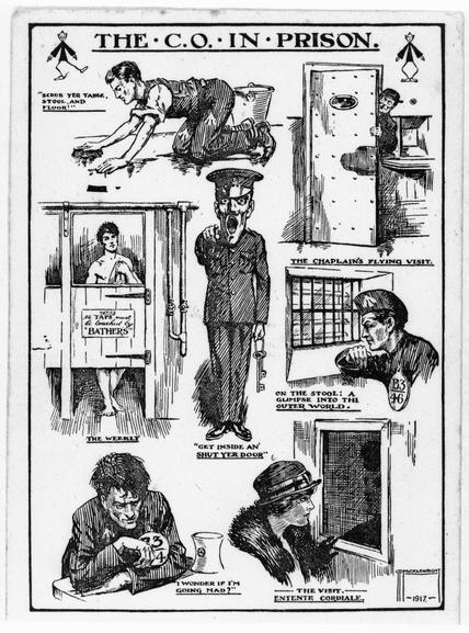 A cartoon drawn by G.D. Micklewright illustrating the life of a Conscientious Objector in prison. Various images are shown such as one of the prison guard and one of the prison chaplain.