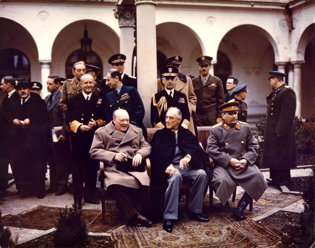 Yalta conference Churchill Stalin Roosevelt 1945 (The National Archives ref: INF14/447)