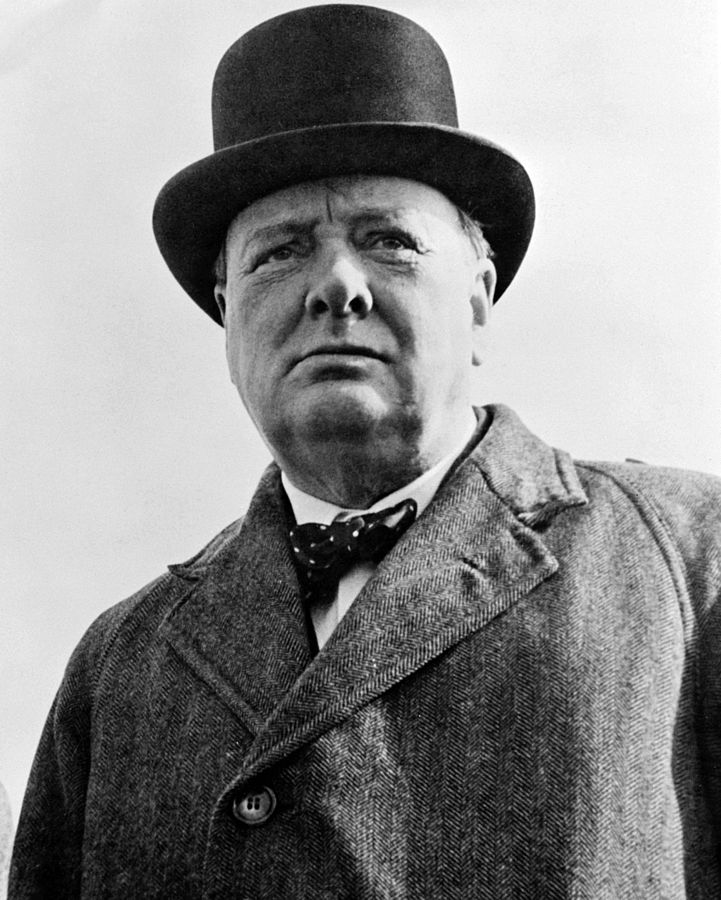 Sir Winston Churchill in a top hat, looking beyond the camera