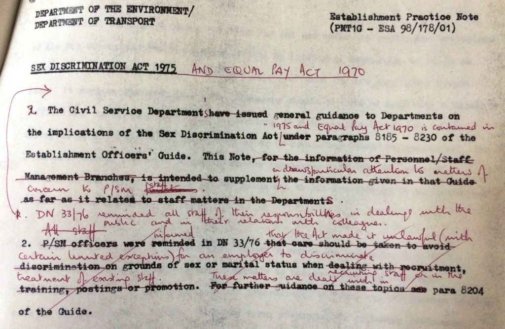 Image of a draft of the Sex Discrimination Act 1975 (reference AT 50/83)