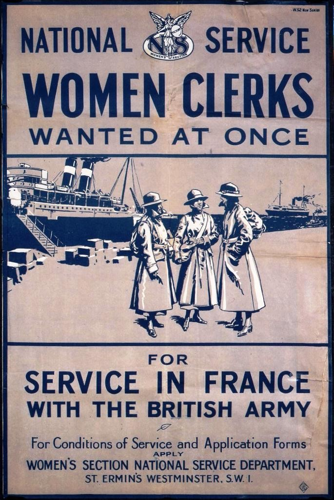 Image of a poster entitled 'Women Clerks For Service in France' (TNA reference NATS 1/109)