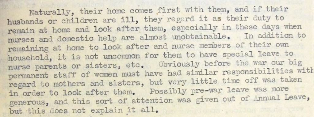 Image of a quote from a record on an inquiry into subsequent history of women for whom marriage bar had been waived (reference T 275/137)