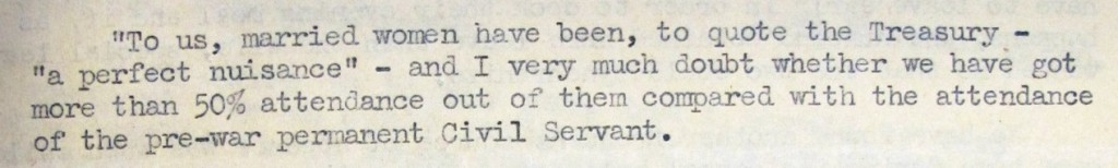 Image of a quote from a record on an inquiry into subsequent history of women for whom marriage bar had been waived