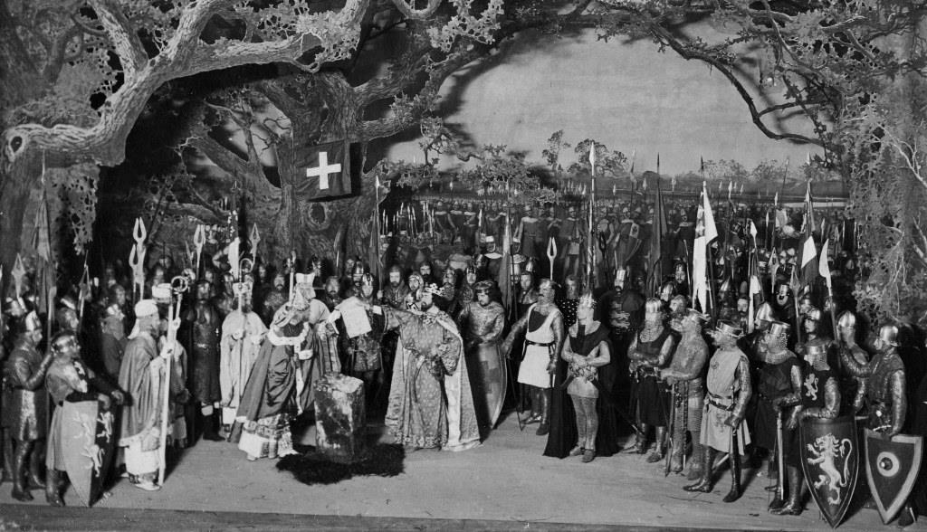 The Victorians celebrated Magna Carta as the foundation of liberty and democracy. This photograph from 1899 depicts King John and the barons at Runnymede in 1215 during a scene from a play performed at Her Majesty's Theatre in 1899, The National Archives, COPY 1/442/651 (3)