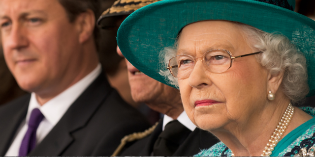Her Majesty the Queen at the naming ceremony of HMS Queen Elizabeth, the UK's latest aircraft carrier