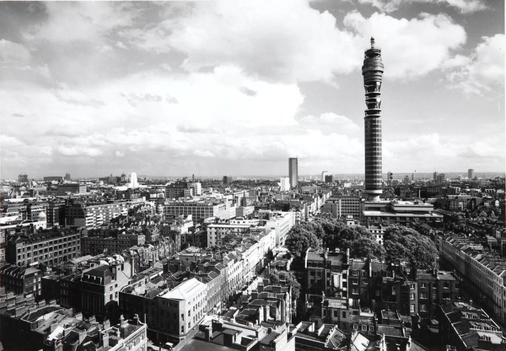 Image of the Post Office Tower which dominates the London landscape in the 1960s