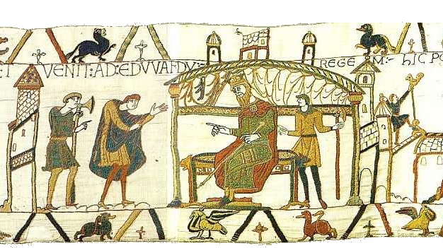 Harold meeting Edward after returning from Normandy, depicted in Scene 25 of the Bayeux Tapestry. Source: Wikipedia: Public domain: image on the website of Ulrich Harsh