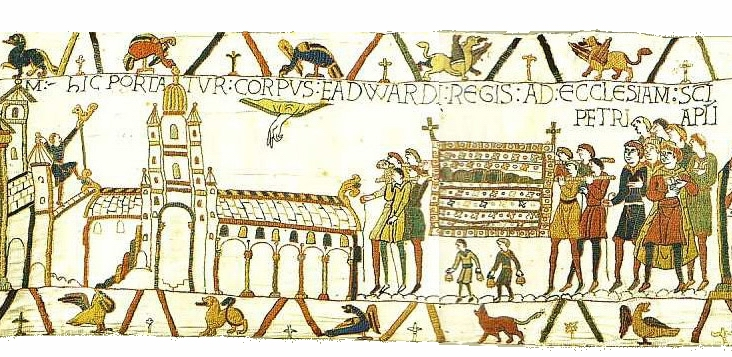 Bayeux Tapestry, Scene 26. The body of King Edward is carried to Westminster Abbey. Source: Wikipedia: Public domain: image on the website of Ulrich Harsh