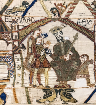 Bayeux Tapestry, Scene 1: King Edward the Confessor and Earl Harold. Source: Wikipedia, Creative Commons, Author: Myrabella