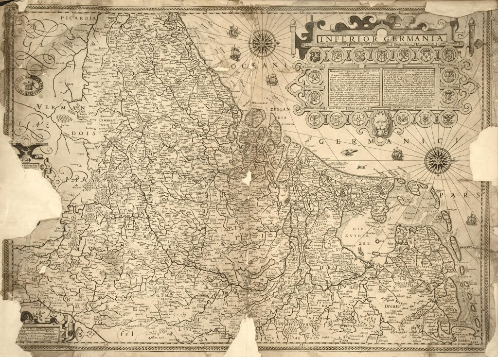 Map of the Netherlands, Belgium and parts of north-west Germany, 1593 (The National Archives: SP 112/91/25).