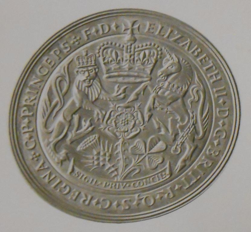 The Privy Council Seal of 1955, designed by W M Gardner (The National Archives: MINT 20/2529).