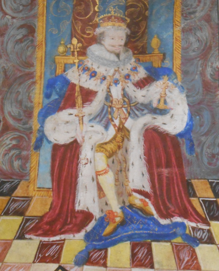 Charles I enthroned as part of an artistic representation on letters patent granting certain privileges to His Majesty's Royal Consort, Henrietta Maria (The National Archives: E 156/8/1).