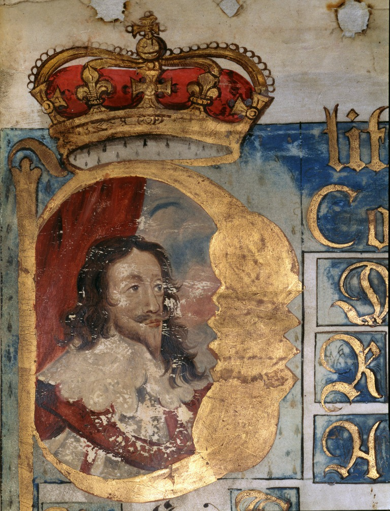 Illuminated Portrait of King Charles I from the initial membrane of the Coram Regis Rolls for 1643 (The National Archives, KB 27/1681/2).