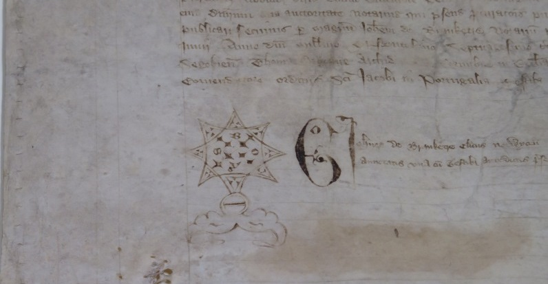 A star shaped notary mark drawn by the clerk.