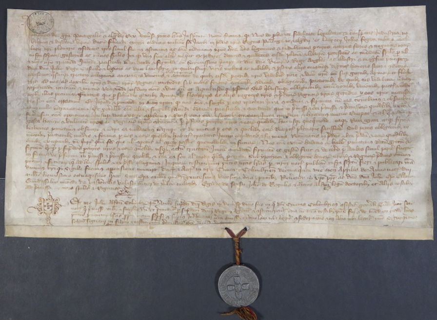 John, King of Portugal granting powers to his ambassadors Fernao de Albuquerque, Master of the military order of St. James, and Laurence John Fogaca, to conclude an alliance with Richard II and John, Duke of Lancaster, and to raise loans in England for payment of the Portuguese troops. Sealed at Coimbra and dated 15 April 1385 (The National Archives: E 30/307)