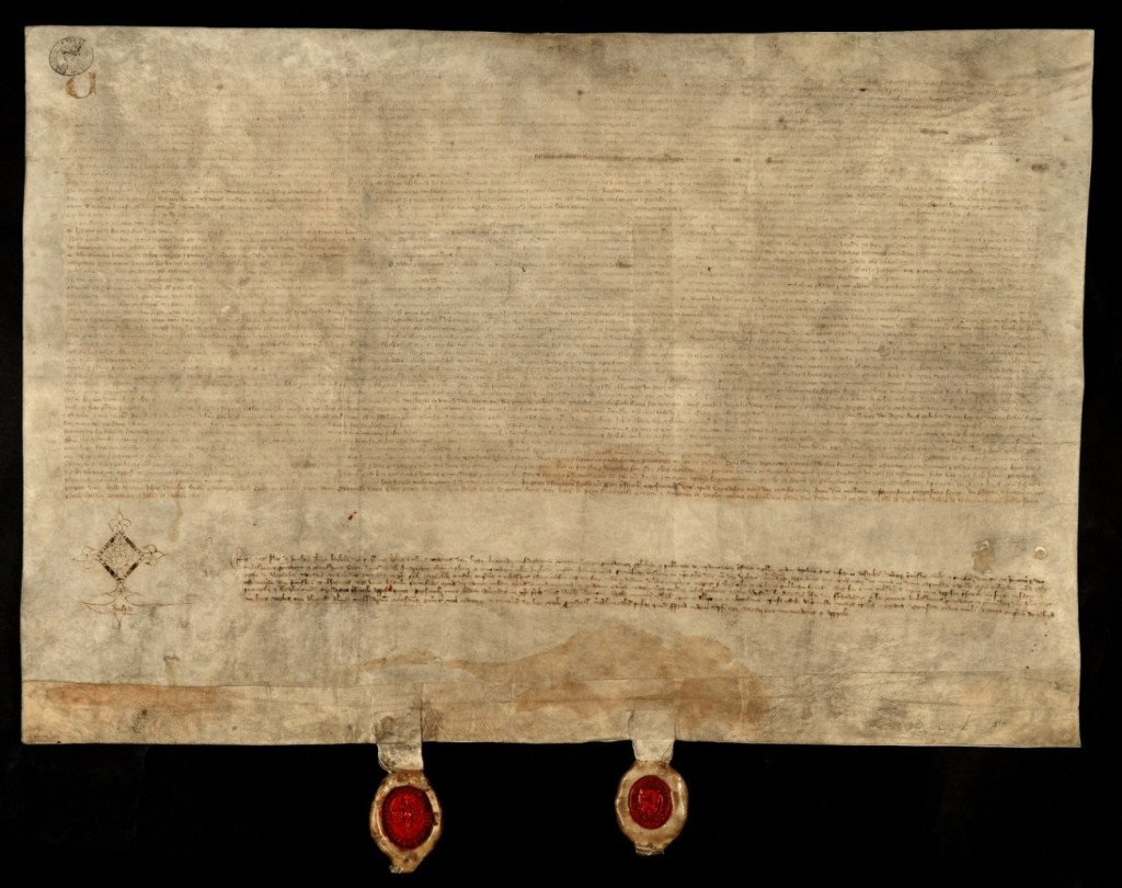 Two red seals are attached to the Treaty of Windsor by strips of parchment