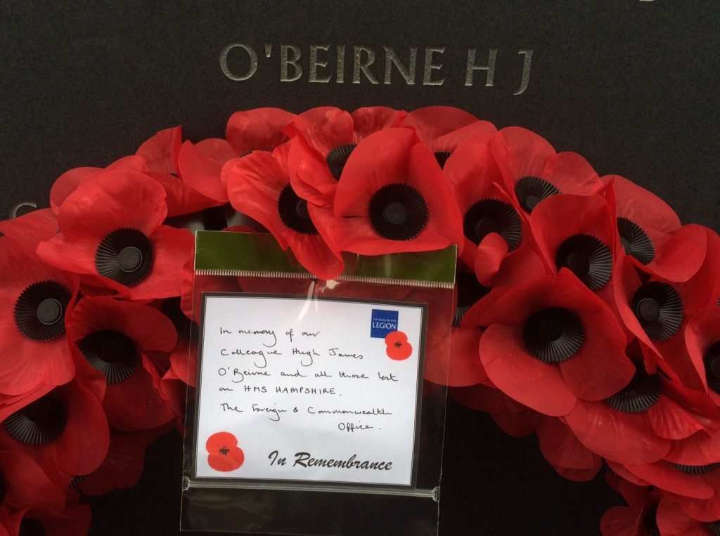 A poppy wreath laid on the memorial for O'Beirne