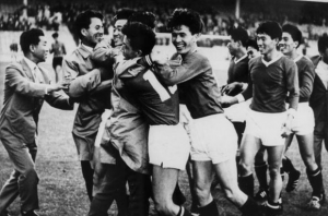 19th July 1966, North Korea 1 v Italy 0 at Ayresome Park, Middlesbrough, The unknown team from the Far East defeated the star-studded Italian team with Pak Doo-Ik scoring the winning goal with a shot from 20 yards, In this picture the Korean players and officials celebrate at the end of the match. (Photo by Popperfoto/Getty Images)