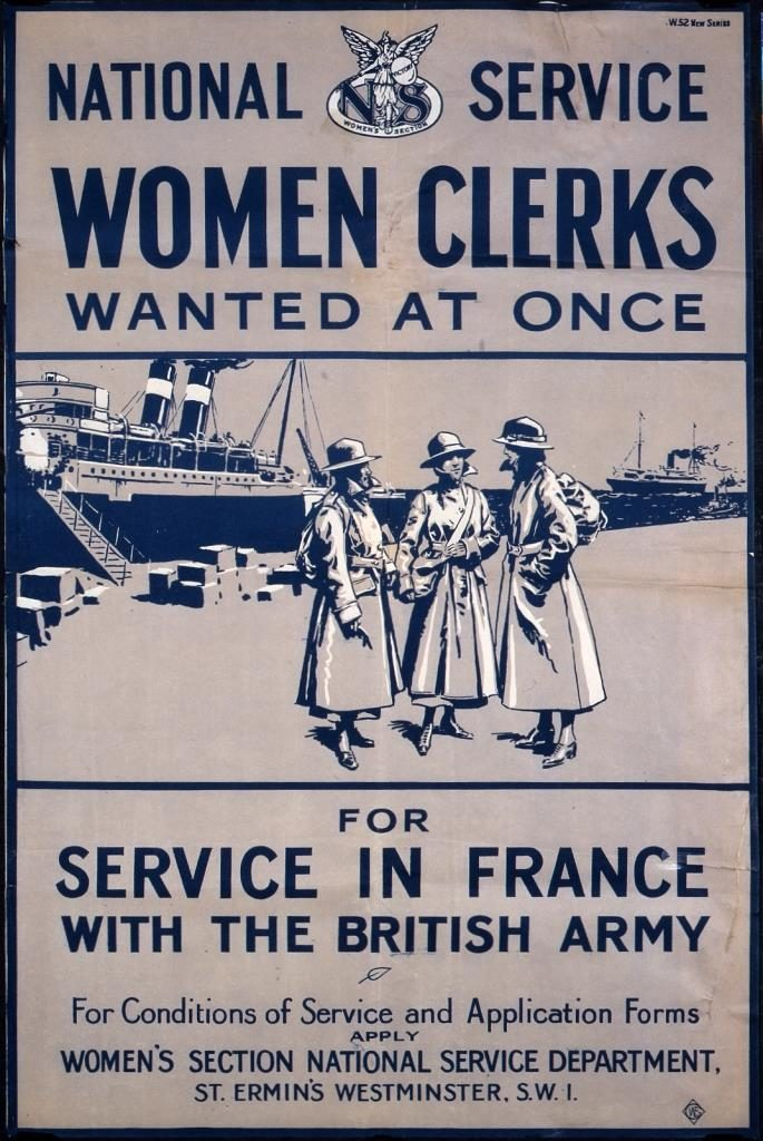The main headings of this poster read: 'National Service: Women Clerks wanted at once for service in France with the British Army'. In an illustration, three women are depicted, in uniform, conversing, on a quayside, with a ship in the background which appears to have just docked.