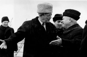 Harold MacMillan greets Nikita Khrushchev in Moscow.  Keystone Pictures USA /Alamy stock photo