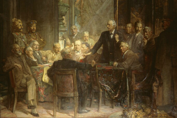 An old painting of Statesmen round a table in the FCO