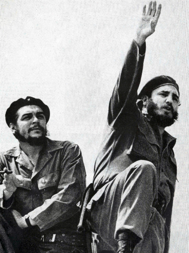 Che Guevara & Fidel Castro, one is reaching up