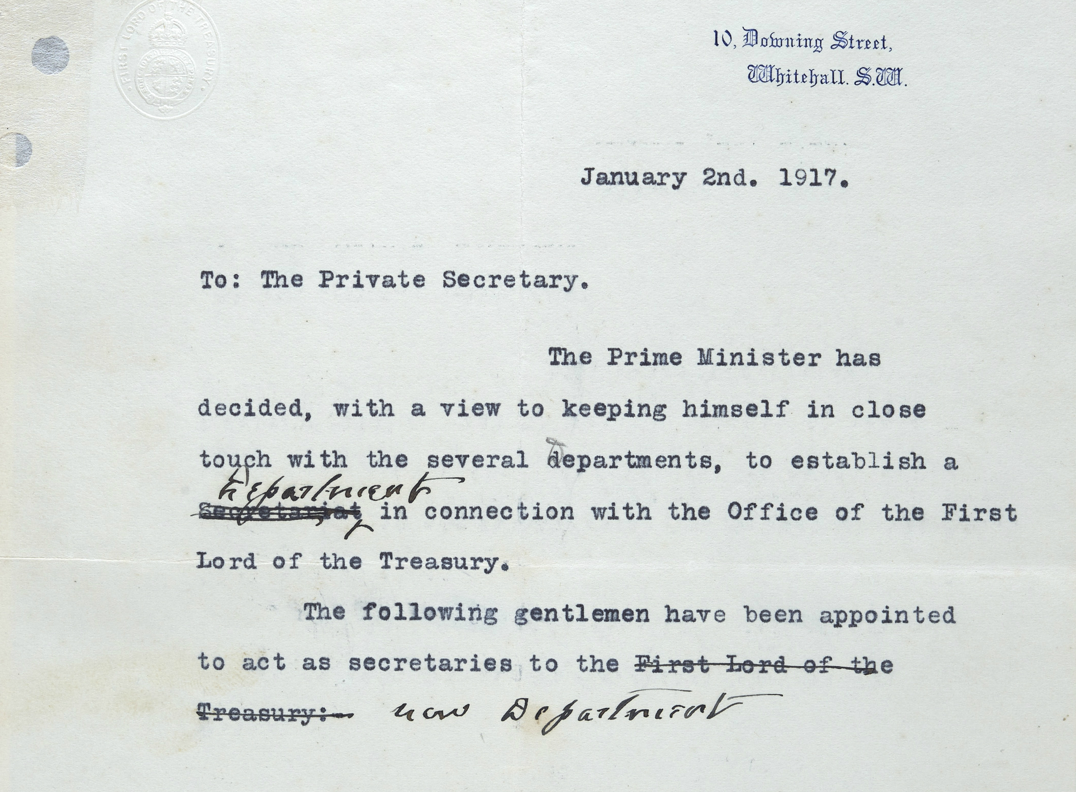 The draft note from 2 January 1917