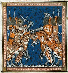 Depiction of the King's forces fighting the barons in the Second Barons' War, 1264-7. British Library Royal 16 G VI, fol. 427v (public domain)