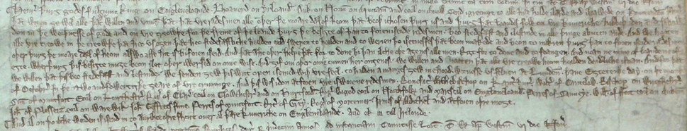 Letter in English to all the King's subjects, 18 October 1258, The National Archives, C66/73, m.15