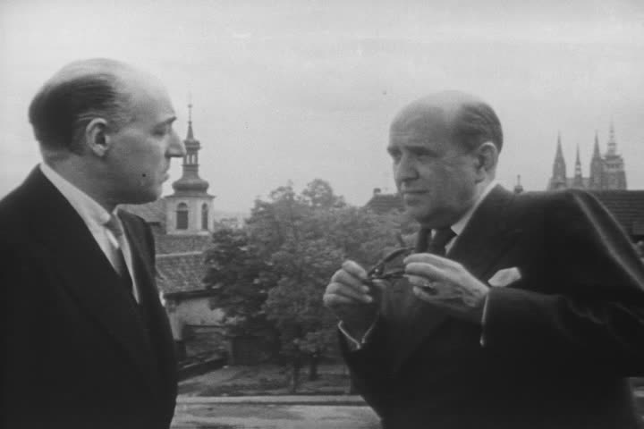 Talking outside are Jan Masaryk, Czechoslovak Foreign Minister, with Laurence Steinhardt, US Ambassador to Czechoslovakia, in 1947