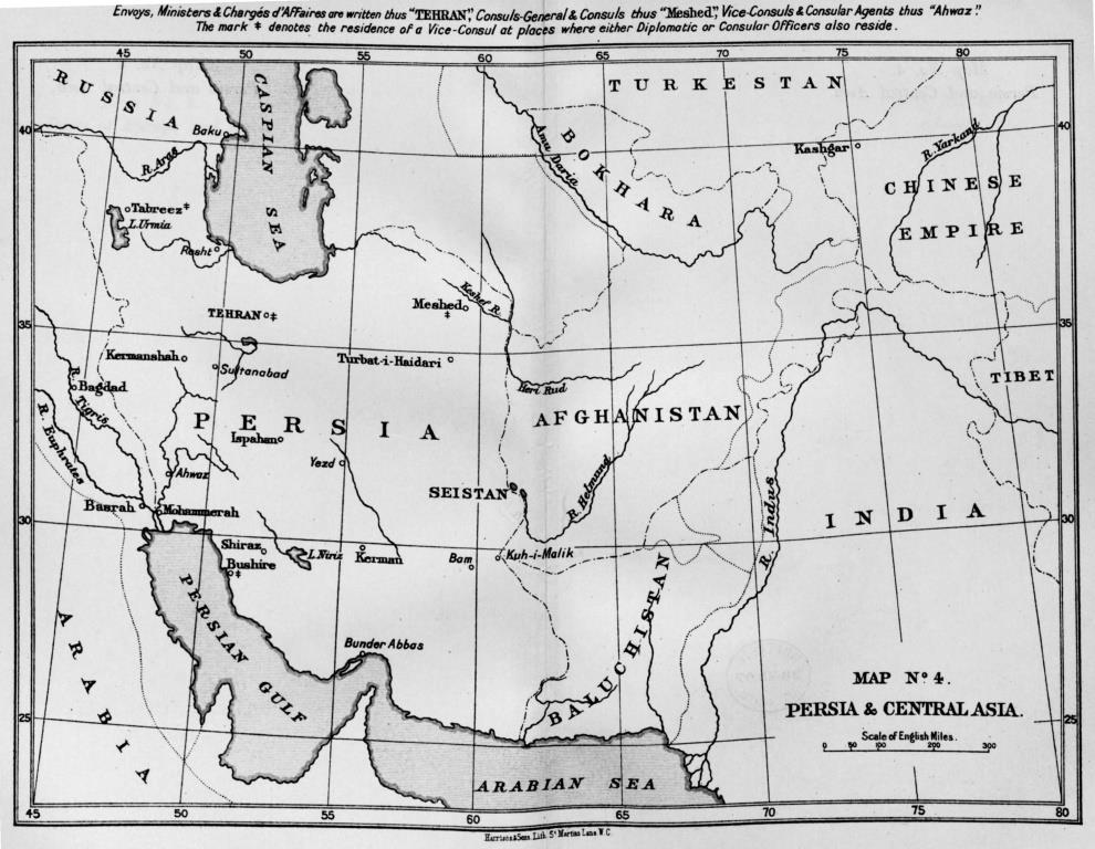 Map of Central Asia, Foreign Office List, 1907