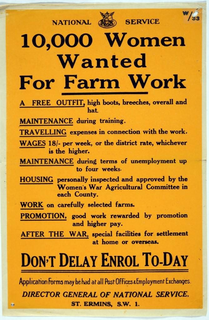 '10,000 Women Wanted for Farm work' poster, TNA: NATS 1/1308