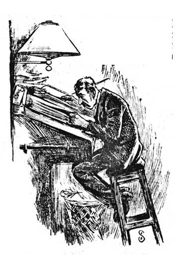 The clerk is perched high on a stool, bent over and closely engaged with inscribing a thick volume or ledger