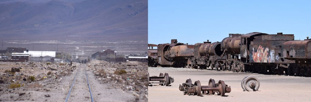 The train grave yard, Uyuni: a line of heavily rusted locomotives