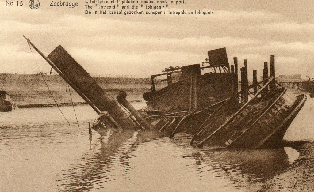 A picture of wreckage of a boat that was sunk in Zeebrugge