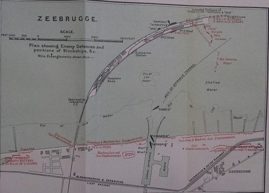 Map showing the enemy defences and a plan of positions of Blockships in Zeebrugge